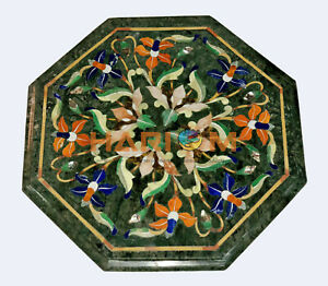 12'' Marble Center Coffee Table Top Multi Stone Floral Inlay Bed Room Decor B534