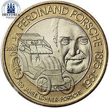 Austria 50 Scellini Moneta da 2000 mano assumano valenza Ferdinand Porsche nella cartella