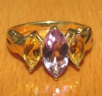 Secondhand 9ct yellow gold 3 stone amethyst citrine band ring size M 1/2