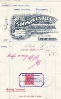 The Simpson Label Company Logo Edinburgh 1906 Label Manf Stamp Receipt Ref 40643