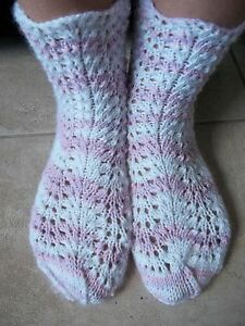 Hand knitted lace pattern socks, white with pink and lavender
