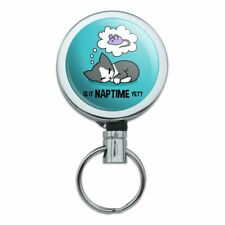 Is It Cat Naptime Yet? Dreaming Retractable Belt Clip Badge Key Holder