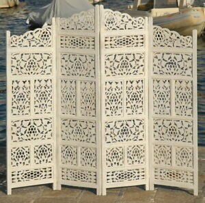 4 PANEL SCREEN ROOM DIVIDER PARAVENT INDIAN HAND CARVED WOODEN  SW