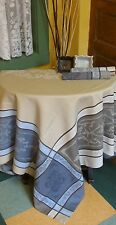 """FRENCH JACQUARD TABLECLOTH  'Montmirail' beige 75""""x 60""""  PROVENCE Teflon Coated"""