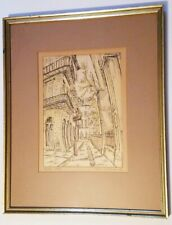 GYPSY LOU WEBB SIGNED Hand Colored Print  Pen Ink New Orleans Art Pirates Alley
