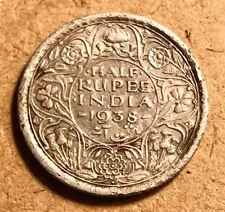 BRITISH INDIA - George VI - 1/2 Rupee - 1938 B Bombay - Silver Coin
