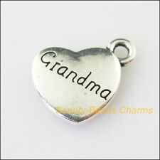 4Pcs Antiqued Silver Tone Heart Grandma Words Charms Pendants 16x18mm