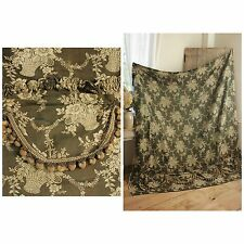 Antique Jacquard French heavy woven floral curtain with valance ruffle + trim