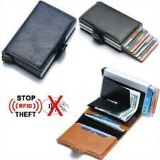 RFID Blocking Men's Genuine Leather Credit ID Card Holder Money Clip Wallet