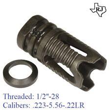 1/2x28 Phantom Style SHORT Muzzle Brake Compensator + Crush Washer .223/5.56/.22