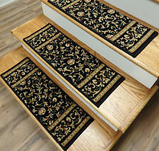 "Black Stair Treads by Rug Depot - Set of 7 Wool Non Slip Carpet Treads 26"" x 9"""