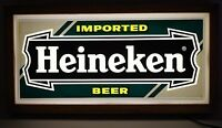 HEINEKEN IMPORTED BEER LIGHTED SIGN WITH BOX 20'' x 10'' VINTAGE WORKING