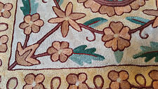 "SILK Flowers 15"" ARI 100% Covered in Crewel Chain-Stitch Embroidery Pillow-Cover"