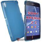 Cover Custodia Per Sony Xperia Z 2 Z2 Azzurro Retro Opaco Gel TPU + Pellicola