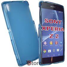 Cover Custodia Per Sony Xperia Z 2 Z2 Azzurro Retro Opaco Gel TPU