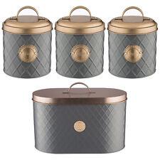 Typhoon Grey Copper Stainless Steel Tea Coffee Sugar Canister Tin Bread Bin Set