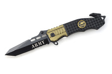 "Snake Eye Tactical "" Army "" Rescue Style Action Assist Folding Knife 4.5"""