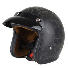 Helmet Motorcycle Vintage Lens Synthetic Large Face Black Scooter Chopper Casco