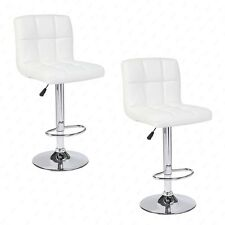 Kenwell Modern White  Set of 2 Bar Stools Leather Adjustable Swivel Pub Chair