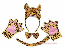 Halloween Party Yellow 3D Tiger Adult Headband Paw Tail Bow Animal Costume 4pc