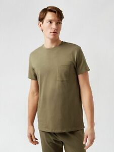 BURTON MENSWEAR LONDON Mens Green T Shirt and Jogger Set Nightwear Loungewear