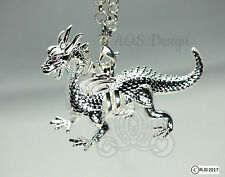 Silver Dragon Pearl Cage Red Ruby Eyes Maleficent Charm Locket Metal Pendant LE
