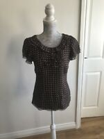 Monsoon Brown And White Sleeved Silk Top With Ruffle Neck Detail - UK Size 8
