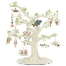 Lenox ~ Set of 12 Summer Ornaments And Tree ~ Beach Fish Crab Shell Nib