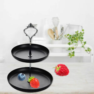 2 Tiers Cupcake Stand Pastry Cupcake Fruit Plate Wedding Party Decor Black