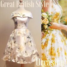 CHI CHI LONDON DRESS SIZE 6 IVORY CREAM ORGANZA FLORAL OCCASION WEDDING PROM