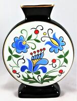 Lubiana Vase Black Hand Painted Ceramic Hand Glazed Floral Flowers Flower Blue