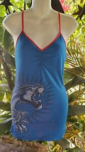 Authentic Ed Hardy Shelf Bra Camisole Tattoo Vintage Limited Collection Size M
