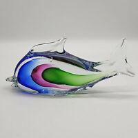 Hand Blown art glass Murano sommerso 3 color fish figurine paperweight