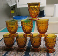 8 FOSTORIA INDIANA AMERICAN WHITEHALL 8 OUNCE AMBER JUICE GLASS TUMBLERS CUBIST