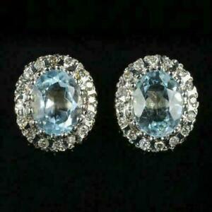 4.50Ct Oval Cut Aquamarine and Diamond Halo Stud Earrings 14K Yellow Gold Finish