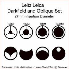 Leitz Leica Microscope Darkfield and Oblique Set 27mm Diameter a
