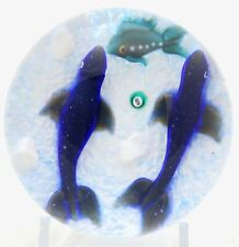 AMAZING Limited Edition WILLIAM MANSON Seals and FISH Art Glass PAPERWEIGHT 1/10