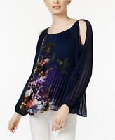 NEW(JN825312&19) INC International Pleated Cold-Shoulder Top Navy Sz L $79.50