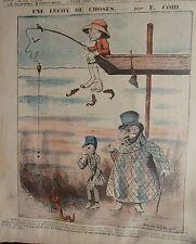 PLANCHE COULEUR DESSIN DE EMILE COHL VERS 1898 LA PECHE UNE LECON DE CHOSES