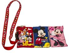 1 X Disney Set of 3 Mickey and Friends Lanyards with Detachable Coin Purse