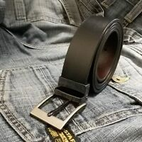 "Mens New Leather Reversible Belts Metal Buckles - Black / Brown - Sizes 26""-60"""