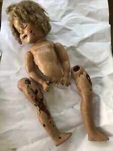 """18"""" Creepy VINTAGE 1930'S IDEAL SHIRLEY TEMPLE Composition Doll W """"teeth"""""""