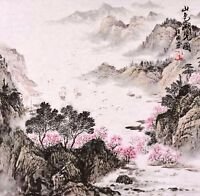 STUNNING ORIGINAL ASIAN ART CHINESE SANSUI WATERCOLOR PAINTING-Mountains&boat
