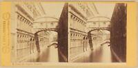 Italia Venezia Pont Dei Sospiri c1865 Foto Carlo Naya Stereo Vintage Albumina