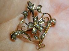 Antico Art Nouveau 9 KT Oro Giallo Semi Pearl Ciondolo Spilla Pin