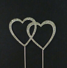 Rhinestone Crystal Double Heart Cake Topper for Wedding or Anniversary