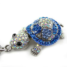 Super Lovely Blue Tortoise Turtle Animal Czech Crystal Necklace