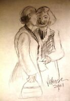 C Peterson ORIGINAL ART charcoal DRAWING SKETCH sisters SIGNED impressionist