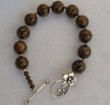 SILPADA BRONZITE & STERLING SILVER BEAD BRACELET TOGGLE FLOWER CLASP B1365 RET