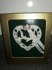 """Wedgwood """"England"""" Our First Christmas Hearts with Doves Ornament . Pre Owned."""